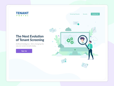 Landing Page for Tenant Screening Application blue landlord rental motion graphics clean ux ux animation clean ui illustration website landing page ui ui design uiux technology artificial intelligence real estate illustration landing page illustration animation illustration ui landing page animation ui animation tenant screening