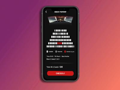 Cinema App - Seats logo samsung iphone android ux design ui design checkout black panther adobe cinema app ios dribbble design creative color brand design booking typography minimal app design