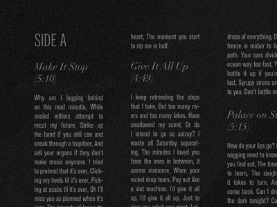 The Envy Corps - It Culls You (inside spread) vinyl lyrics typography columns grid