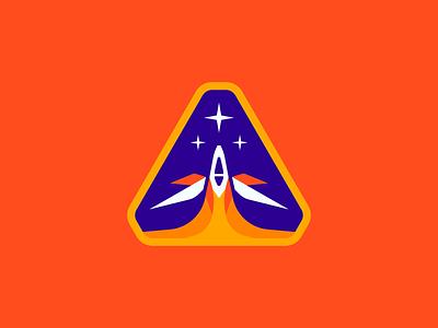 Chris Course Badge Design school development exploration adventure journey outer space boosters schematics sky sun moon course future star space planet satellite astronaut rocket spaceship
