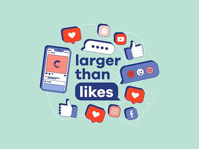 Larger Than Likes snapchat text phone dislike truth friend social emoji series message church preaching sermon twitter facebook instagram likes social media