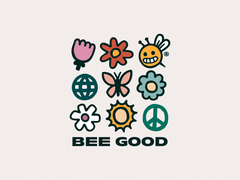 BEE PEACEFUL flowers globe peace sun butterfly elements icons together optimism kindness honeycomb home heart happy good bee bees