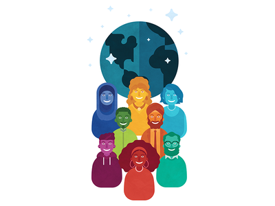 Diversity together happy humans smiles diversity cartoon illustration flat colors globe earth people