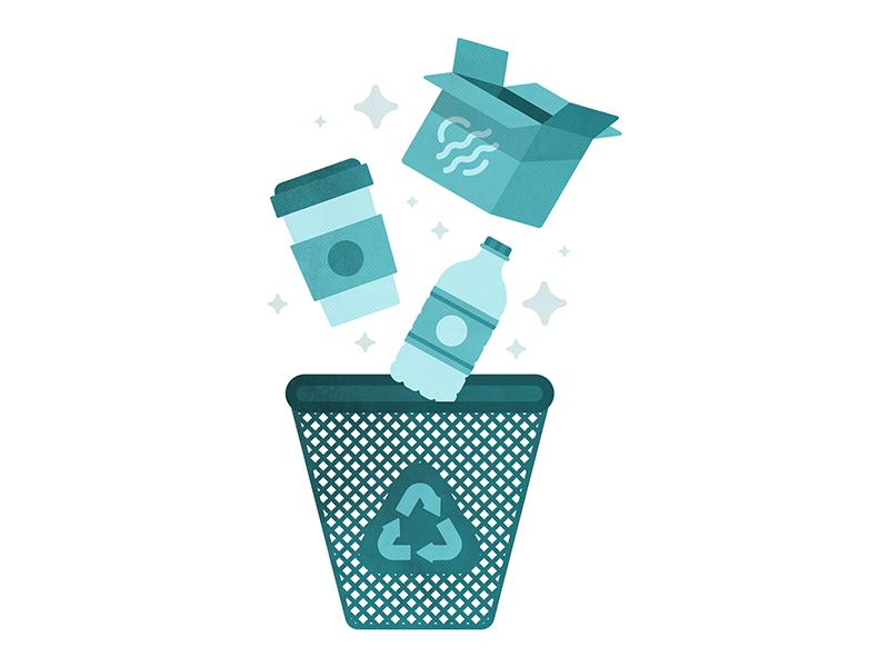 Reduce, Reuse, Recycle water coffee cycle coffee cup box water bottle garbage trash bin recycle reuse reduce