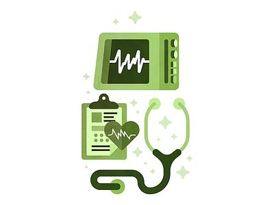 The Pulse service green medical life health checking stethoscope clipboard heart chart pulse ekg