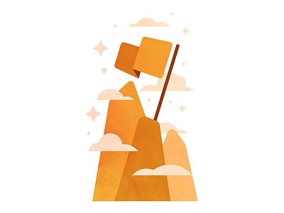 Better Leadership work business service sky expertise management illustration orange flag summit mountain leadership