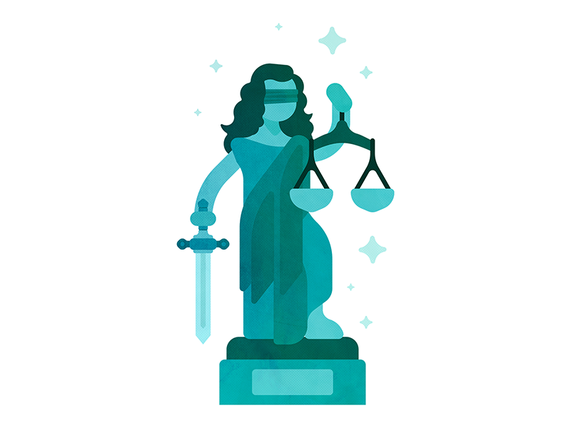 Integrity flat statue woman stars illustration peace equality sword blind justice