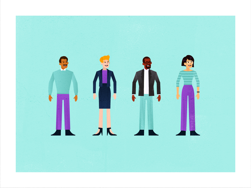 People Exploration: Character Group D search laptop illustration people vector business popular flat client travel office purple planning customer support service travel app fly traveling flight booking