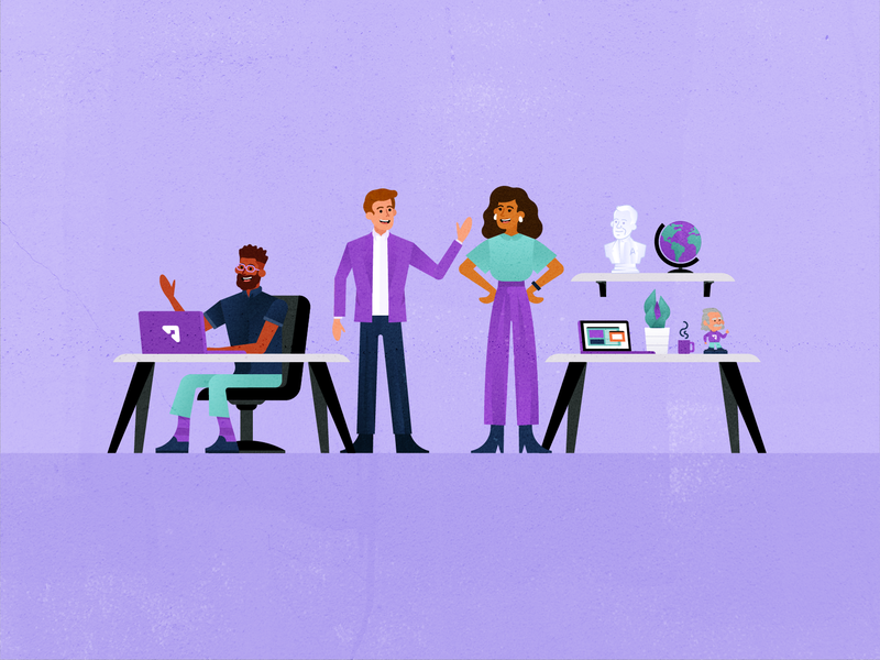 Upside Key Art search laptop illustration people vector business popular flat client travel office purple planning customer support service travel app fly traveling flight booking