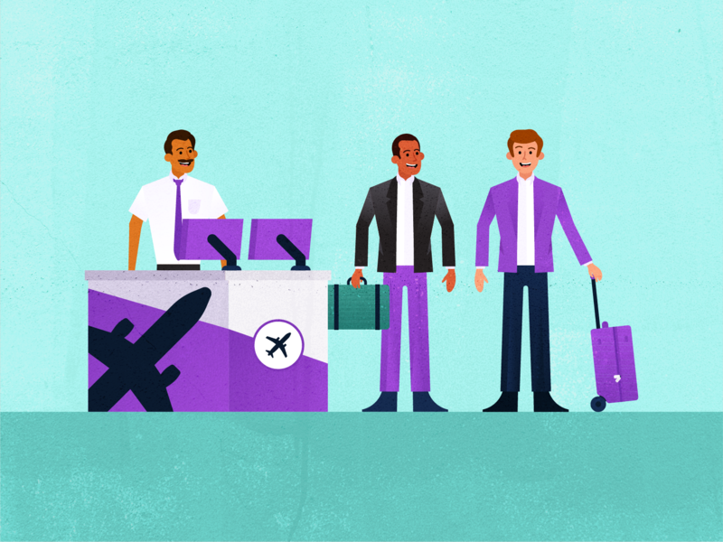 Business Travel search laptop illustration people vector business popular flat client travel office purple planning customer support service travel app fly traveling flight booking