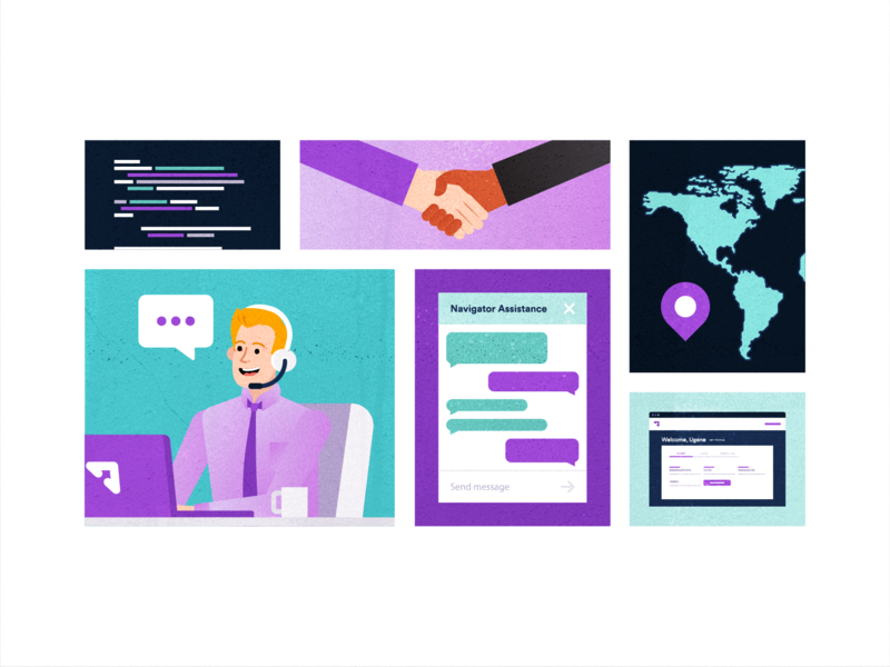 Customer Concierge search laptop illustration people vector business popular flat client travel office purple planning customer support service travel app fly traveling flight booking