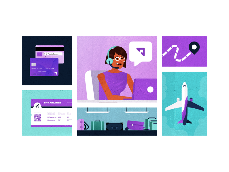 Customer Benefits search laptop illustration people vector business popular flat client travel office purple planning customer support service travel app fly traveling flight booking