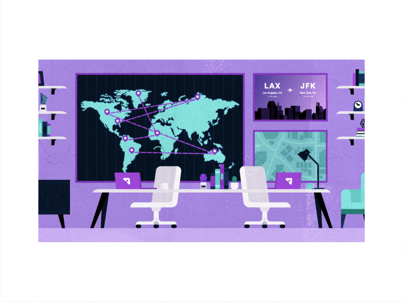 The Command Center search laptop illustration people vector business popular flat client travel office purple planning customer support service travel app fly traveling flight booking
