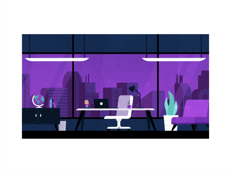 Office After Hours search laptop illustration people vector business popular flat client travel office purple planning customer support service travel app fly traveling flight booking