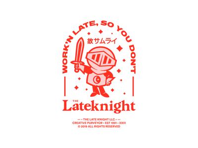 The Late Knight brand purveyor creative samurai brave night moon sword helmet red hustle work armor art stars late knight flat vector illustration