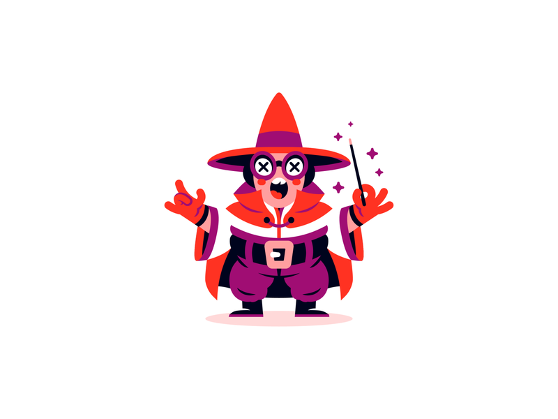 Keep it Magical purveyor creative night brave moon magic hat red hustle wand stars art late knight wizard flat vector illustration