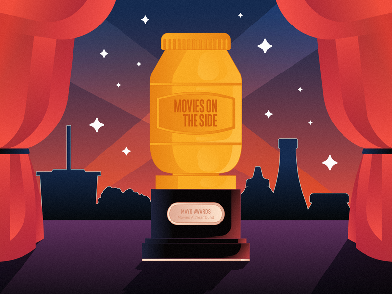 Movies on the Side MAYO awards camera lights special stars new show curtains mustard ketchup popcorn soda podcasting podcast art new year hollywood oscars mayo podcast movies awards