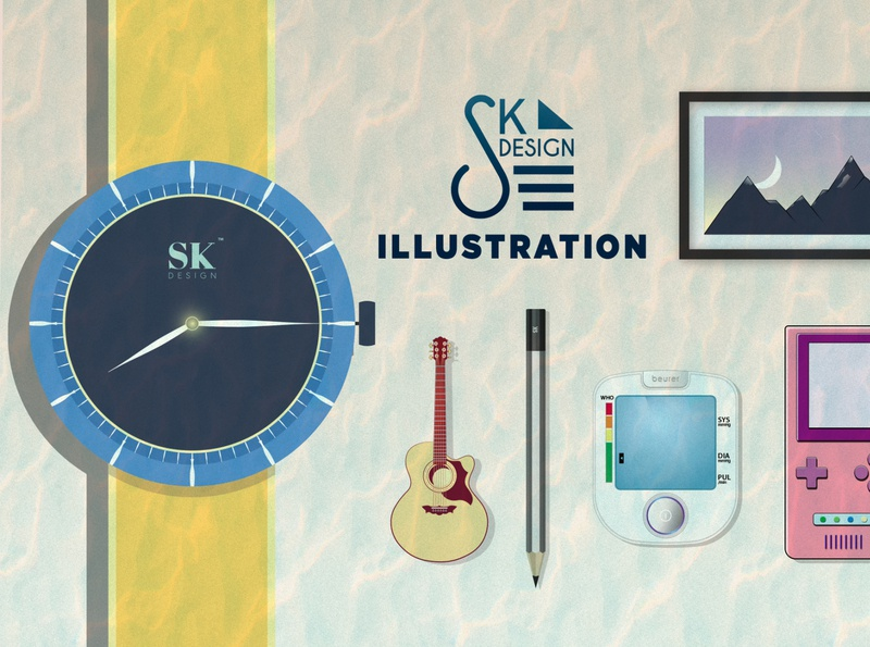 illustrations in one simple flatdesign minimalism logo frame game console guitar watch landscape layout concept graphicsdesign 2020 illustrator photoshop illustration graphics design vector adobe lazy