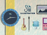 illustrations in one simple flatdesign minimalism logo frame game console guitar watch landscape layout concept graphicsdesign 2020 illustrator photoshop illustration graphics design vector adobe lazy
