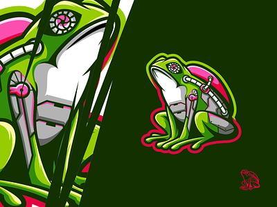 cyfrog frog animal art animal illustration esports logo gaming branding logo design vector illustration icon character art
