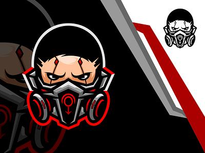 cyber mask cyborg mask esports logo gaming esports logo design vector illustration icon character art