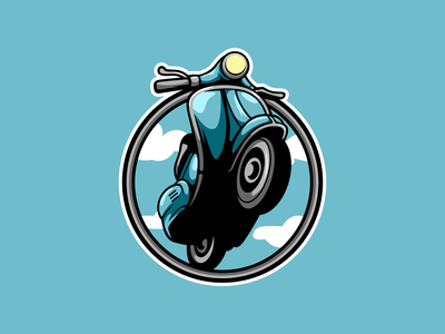 Scooter mascot gaming esports branding logo vector design character icon illustration art