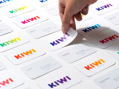 KIWI Business Cards logo design gradients colors business cards business card rebranding gradient kiwi logo