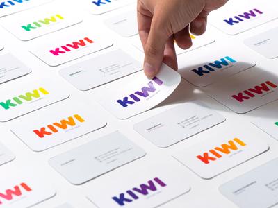 KIWI Business Cards logo design gradients colors business cards business card rebranding gradient kiwi logo