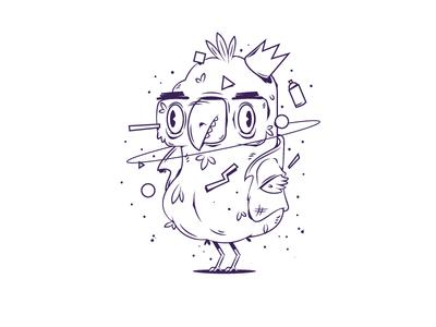Bird illustration night space graffiti science fiction character portrait bird comic disintegration