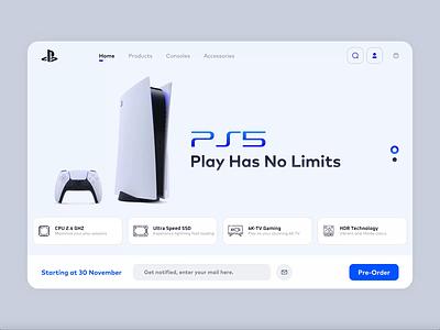 Playstation 5   Website Concept web website concept website minimal animation webdesign concept playstation5 ux design ui design ux ui