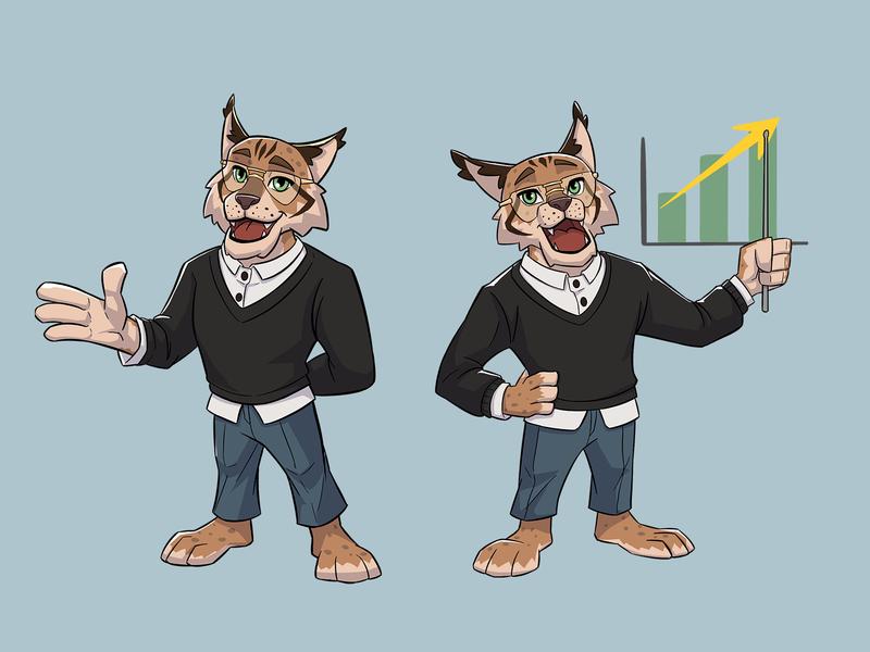Lynx Mascot comics comic art presentation success rich lynx cat cute character characters animal mascot design mascot mascot character character design characterdesign character economy startup business finance