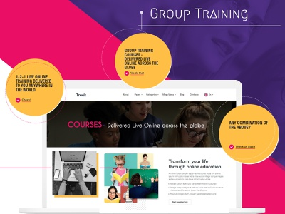 Group Training Web Layout theme group training ui flat design design trending ui trending design training website homepage design latest design branding