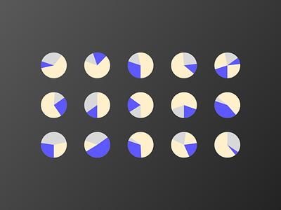 Pie round gold blue pie chart illustration black