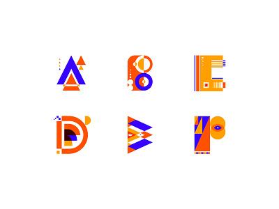 Letters yellow orange blue sketch illustraion letters design illustration