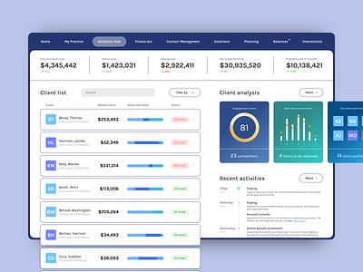 Dashboard clean analytics ux platform interface financial table bar chart bar pie chart piechart chart card ui dashboad