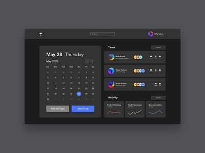 Dashboard - Practice clean ui data visualization table dark ui calendar dashboad dark mode black design vector ui