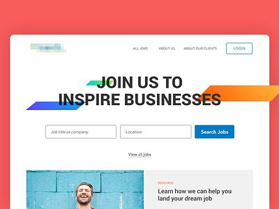 Recruiting Site Homepage homepage landing page orange red ui web design website
