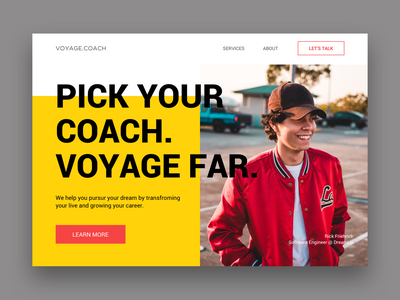 Landing Page Concept 1 minimalism ui maroon yellow website landing page