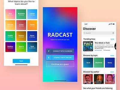 A Podcast App Design app design gradient ios app card ui