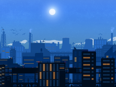 A Blue Night nightsky hero area mountain landscape mountain landscape illustration landscape illustration design
