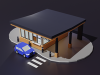 Coffee shop hatchback night shop coffee low poly 3d illustration