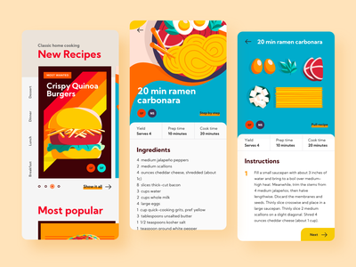 DailyUI Recipe Cont' ui design challenge animation mobile app illustration vector explorations recipe daily ui