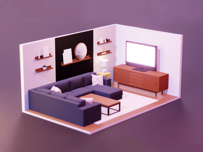 Living room blender 3d coffee table couch sideboard tv living room