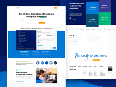 signNow home page pattern texture e-sign e-signature blue landing homepage webdesign web ui design