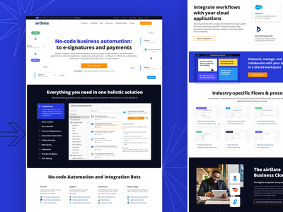 airSlate homepage e-signature blue automation workflow homepage navy blue marketing web design website web ui design ui landing page ui landing page