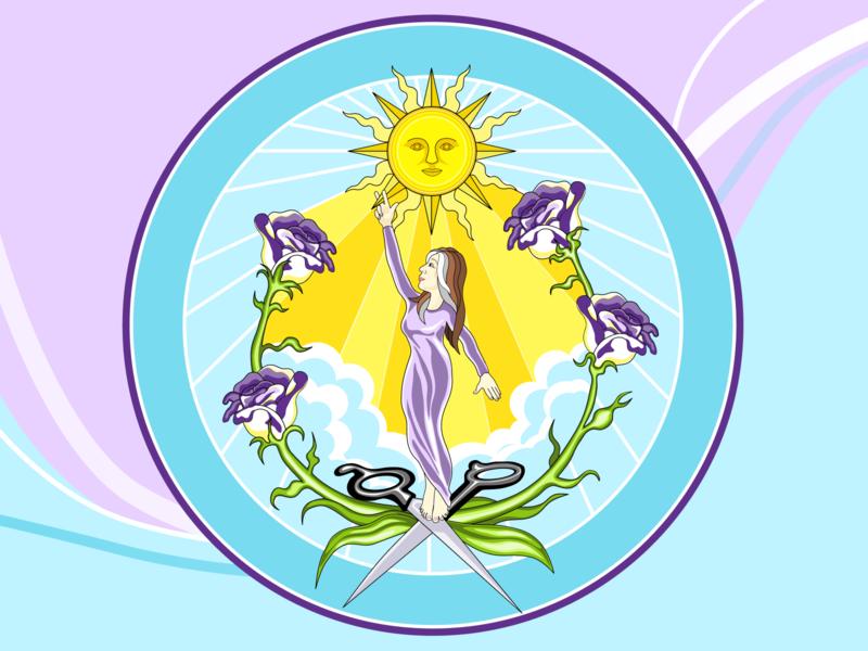 In Memory of Laura Moore rays clouds elegant purple flowers sun scissors hairdresser circle family family crest in loving memory in memory of rva logo ui illustration design figma art