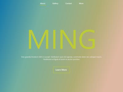 MING typography landing page ui illustration minimal design