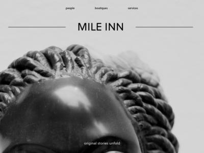 Mile Inn typography landing page ui minimal design