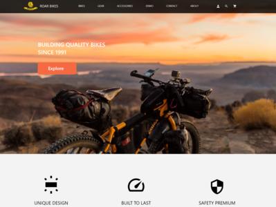Roar Bikes typography landing page design ui minimal