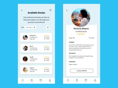 Doula App visual design uxui mobile app